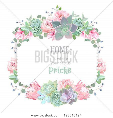 Green colorful succulents vector design square frame. Echeveria, protea, camellia, rose, eucalyptus. Modern funky cactus bouquets on white. All elements are isolated and editable