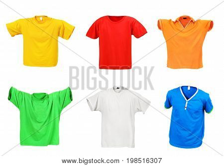 Set of hollow t-shirts isolated on a white background