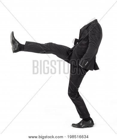 Hollow suit makes front kick isolated on a white background