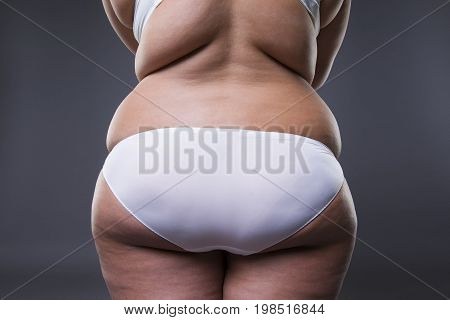 Overweight woman with fat legs and buttocks obesity female body on gray background poster
