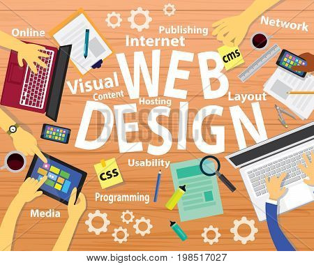 Vector illustration. Top view web design concept. Working desk from above view with designer hands working on laptop, computers, papers, designing website, online business, setting, internet