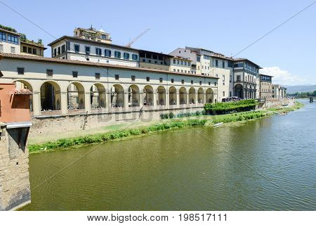 River Arno And Uffizi Museum At Florence On Italy.