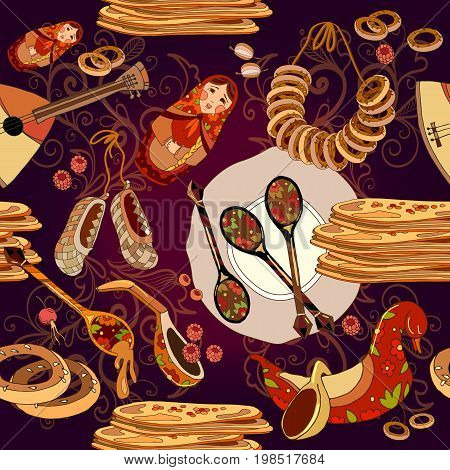 Russian cuisine seamless pattern pancakes balalaika. Russian culture and traditions seamless background