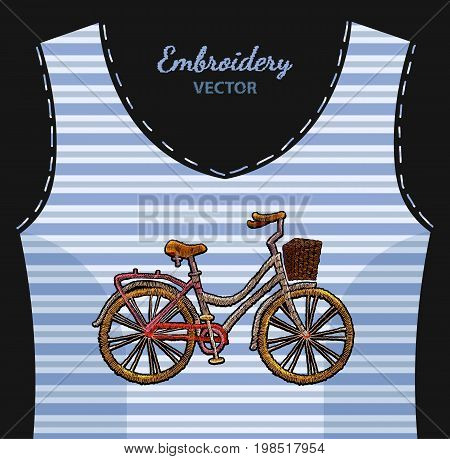 Embroidery bicycle with basket on undershirt in blue strip. Fashionable embroidery bicycle spring art template for romantic clothes t-shirt design art