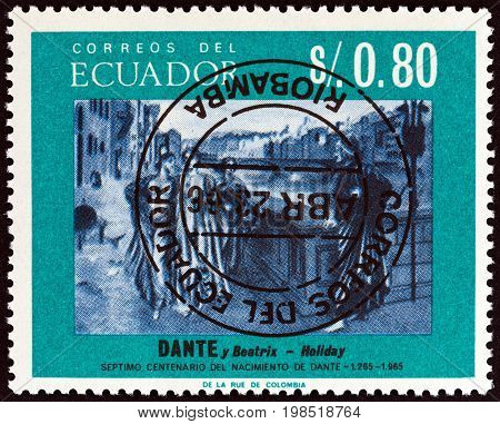 ECUADOR - CIRCA 1966: A stamp printed in Ecuador shows Dante and Beatrice by Henry Holiday 700th birth cent., circa 1966.