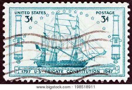 USA - CIRCA 1947: A stamp printed in USA issued for the 150th anniversary of launching of frigate U.S.S.Constitution shows frigate U.S.S.Constitution, circa 1947.