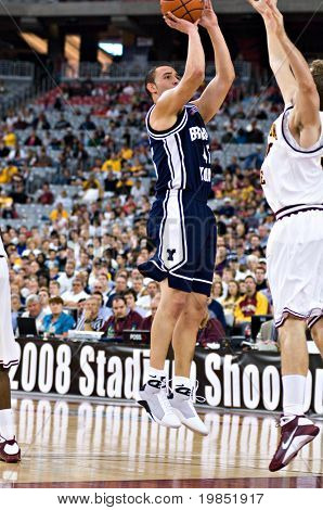 GLENDALE, AZ - DECEMBER 20: Brigham Young University forward Jonathan Tavernari puts up a jump shot during the basketball game against Arizona State on December 20, 2008 in Glendale, Arizona.
