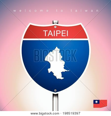An Sign Road America Style with state of Taiwan with pink background and message TAIPEI and map vector art image illustration