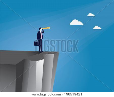 Vector illustration. Business vision concept. Businessman holding and looking trough telescope looking forward while standing on the edge of a cliff. Future direction development goal success