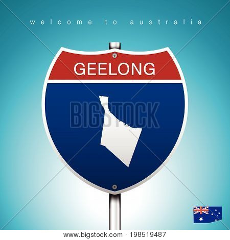 An Sign Road America Style with state of Australia with Green Turquoise background and message GEELONG and map vector art image illustration