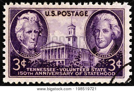 USA - CIRCA 1946: A stamp printed in USA issued for the 150th anniversary of Tennessee Statehood shows Andrew Jackson, John Sevier and Tennessee State Capitol, circa 1946.