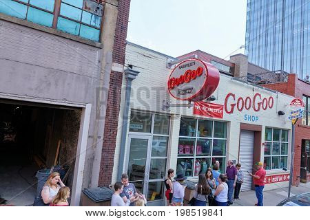 NASHVILLE TN USA - APRIL 14 2017: Goo-Goo shop and factory. An iconic Nashville presence since 1912 home of the Goo-Goo Cluster which combine caramel marshmallow nougat peanuts and milk chocolate