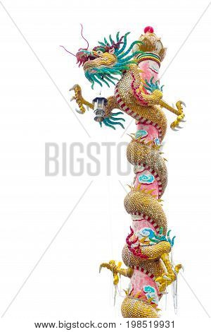 Chinese style dragon statue isolated on white background (year)