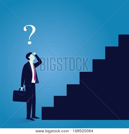 Vector illustration. Business journey concept. Future success. Businessman confuse afraid worried to start his first step climbing stair for success career achievement development growth progress vision future