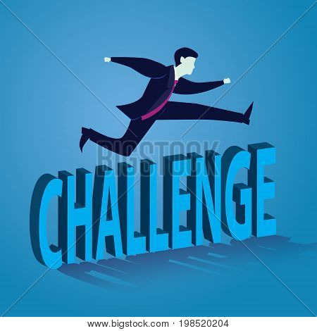 Vector illustration. Business conquering obstacle challenge concept. Businessman jumping over challenge.