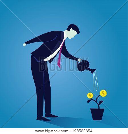 Vector illustration. Business Future Success. Businessman watering his money plant. Planting wealth. Future success goal. Investment concept.