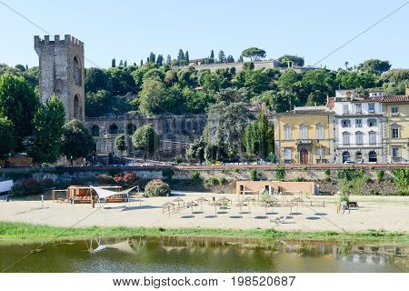 Firenze Italy - 5 July 2017: Coast of river Arno at Firenze on Italy