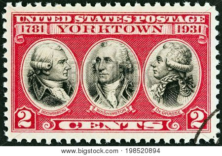 USA - CIRCA 1931: A stamp printed in USA issued for the 150th anniversary of surrender of Cornwallis at Yorktown shows Rochambeau, Washington and De Grasse, circa 1931.
