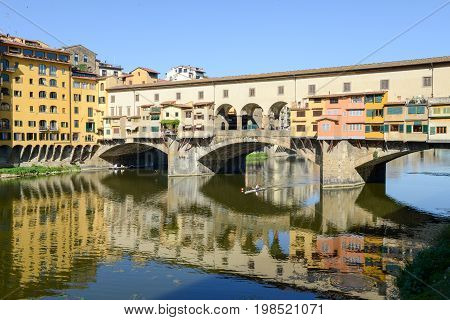 Famous Bridge Of Ponte Vecchio In Florence On Italy