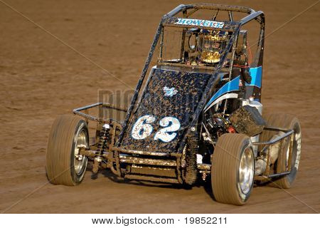 PHOENIX, AZ - FEBRUARY 21: Dennis Howell (62) competes in the USAC Copper on Dirt auto race at the Manzanita Speedway on February 21, 2009 in Phoenix, AZ.
