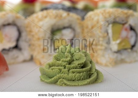 Bunch of hot wasabi for sushi rolls. Macro. Photo can be used asa whole background.