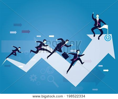 Vector illustration. Business competition concept. Businessmen running forward for racing on success arrow. One leader looked happy to win the race on victory finish point