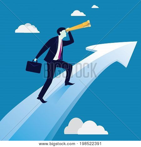Vector illustration. Business Vision Success Concept. Businessman holding working bag and looking trough telescope while standing on raised up success arrow