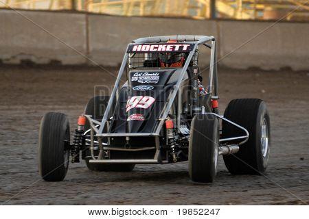 PHOENIX, AZ - FEBRUARY 21: Jesse Hockett (199) competes in the USAC Copper on Dirt auto race at the Manzanita Speedway on February 21, 2009 in Phoenix, AZ.
