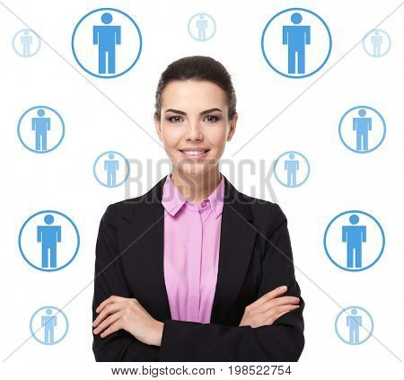 Young businesswoman and employees icons on white background. Concept of human resources management