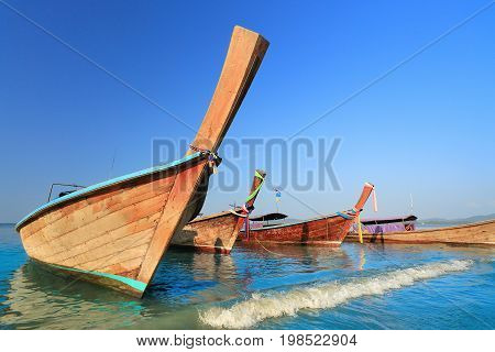 Longtail boats at Ao Nang beach Krabi Thailand