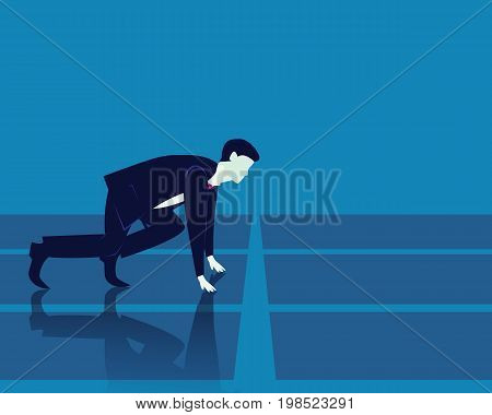 Vector illustration. Business concept. Businessman ready to start sprinting on running track