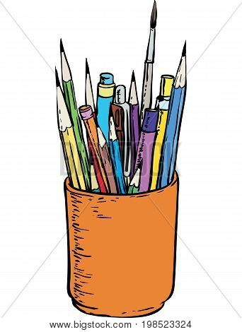 Colorful Pencils and Brushes in the Holder. Isolated on a White Background