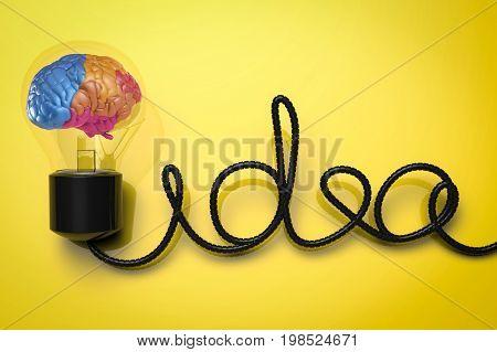 Creative Idea With Colourful Brain