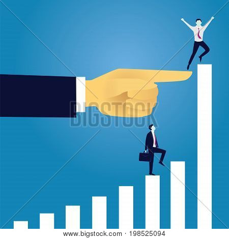 Vector illustration. Business reaching success leadership concept. Businessman raised by giant hand to reach for success in top position of ladder leaving other competitor backward. Leadership directing way of success progress conceptual