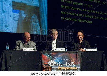 TEMPE, AZ - APRIL 6: Nobel Prize winners Dr. Walter Gilbert, Dr. John Mather and Dr. Frank Wilczek address the Origins Symposium at Arizona State University on April 6, 2009 in Tempe, AZ.