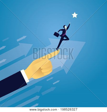 Vector illustration. Business success moving forward leadership concept. Businessman raised by giant hand of leader to reach star in the sky. Directing way of success progress conceptual
