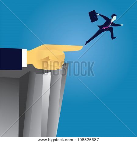 Vector illustration. Business challenge direction leadership concept. Businessman jump leaf to conquer obstacle challenge gap with help of giant leader hand