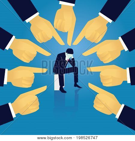 Vector illustration. Business failure guilty concept. Businessman frustrated sad down thinking of his fault sitting in the middle of peoples pointing finger directing on him