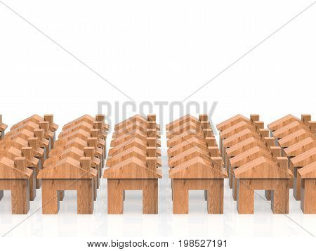 3d rendering wooden houses village with mock up houses or model houses