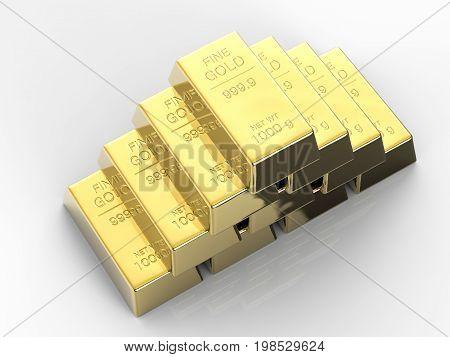 3d rendering heap of bullions on white background