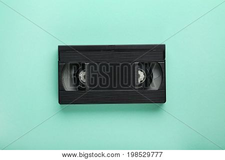 Video cassette tape on the mint background