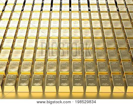 3d rendering bullion background or gold bar background