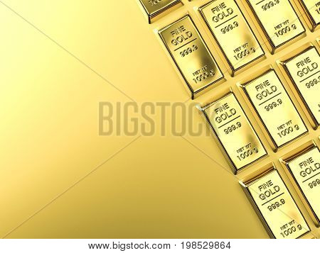 3d rendering bullions or gold bar on gold background
