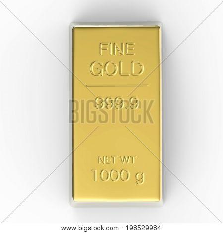 3d rendering 1000 g of gold bar or bullion on white background