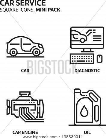 Car Service, Square Mini Icon Set
