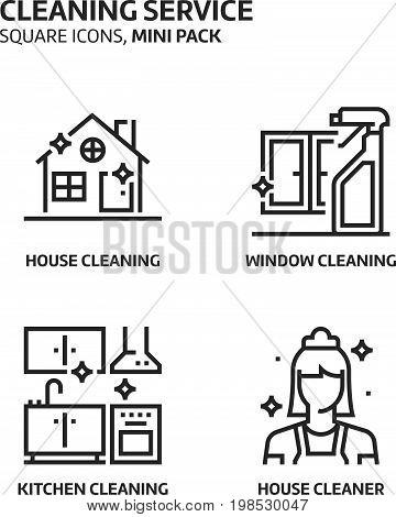 Cleaning Service, Square Mini Icon Set.