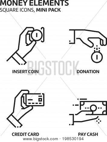 Money Elements, Square Mini Icon Set