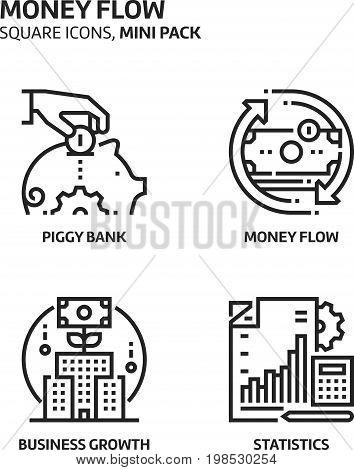 Money Flow, Square Mini Icon Set