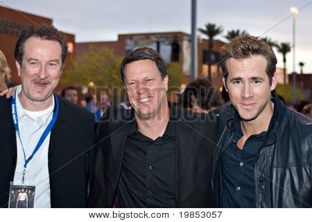TEMPE, AZ - APRIL 27: Actor Ryan Reynolds, director Gavin Hood and producer Ralph Winter appear at the premiere of X-Men Origins: Wolverine on April 27, 2009 in Tempe, AZ.
