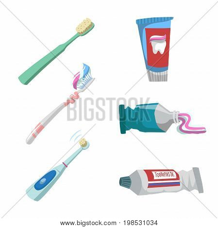 Cartoon flat style tooth care icons set. Tubes with toothpaste and different toothbrushes.Electric ultrasound toothbrush.